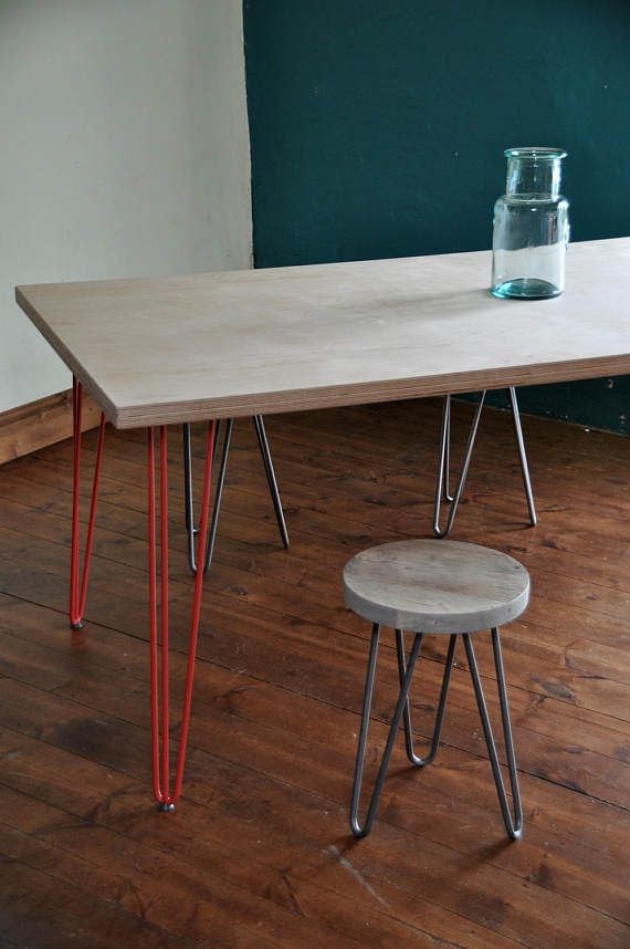 Bespoke Dining Table Hand Made In Uk Mid Century Modern Wood Furniture Hairpin Legs Chic Kitchen