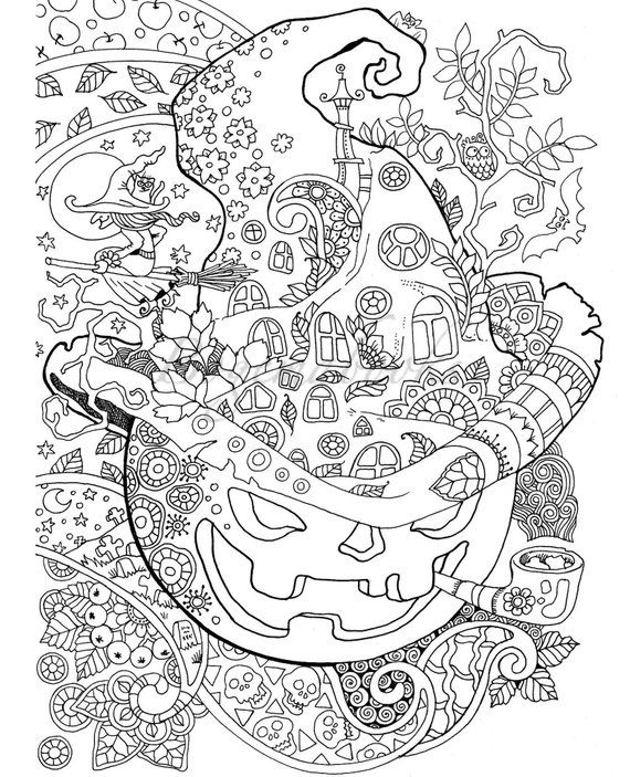 Halloween! Adult Coloring Book (PDF coloring pages, Digital
