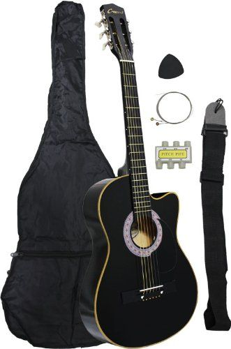 38 Black Acoustic Guitar Cutaway Style Starter Package Guitar Gig Bag Strap Pick Learntab Resou Acoustic Guitar For Sale Black Acoustic Guitar Guitar