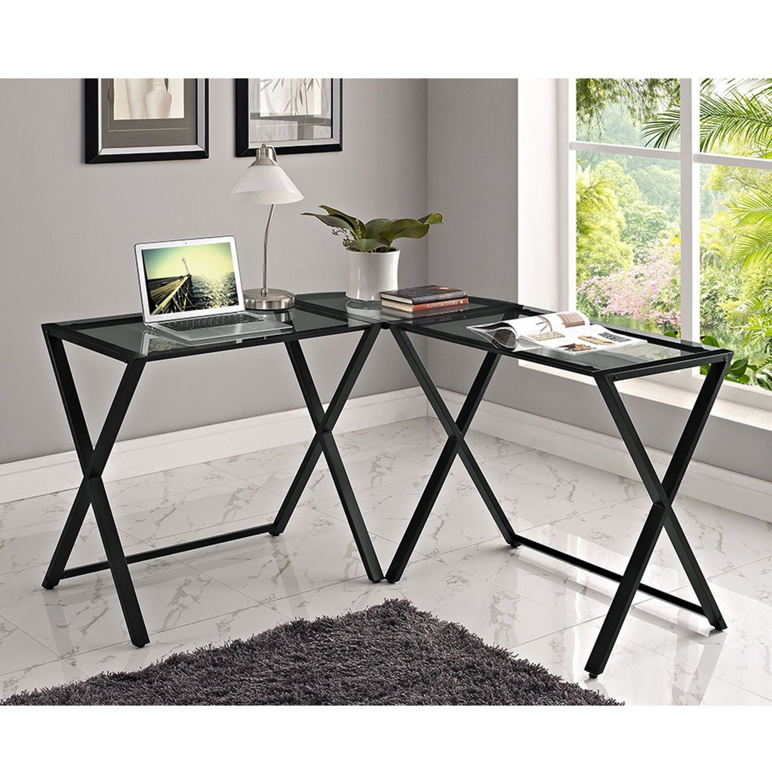 2019 Glass And Metal Corner Computer Desk Black  Best