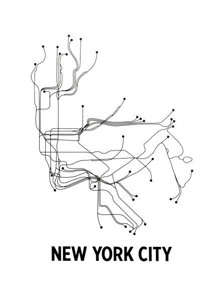 Black And White Subway Map.New York City Subway Map Cartography Nyc Subway Map Nyc Nyc