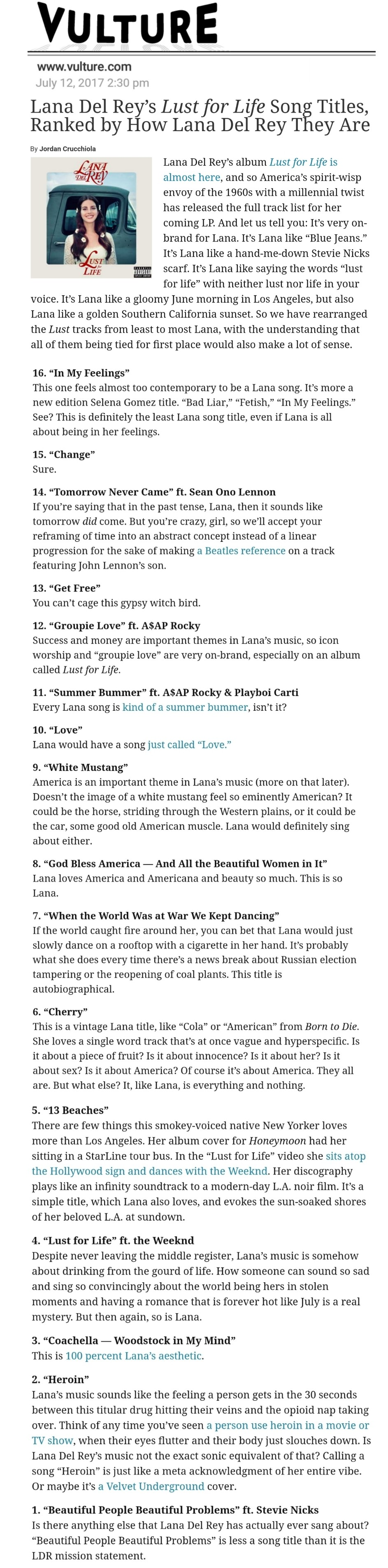 Vulture com: Lana Del Rey's Lust For Life song titles ranked