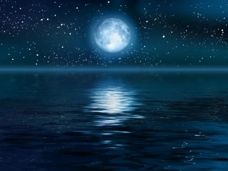 Ocean Night Sky |     MOON OVER OCEAN - reflection, stars