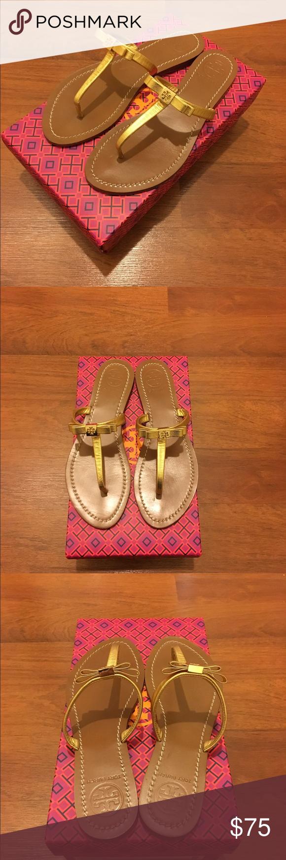 Tory Burch Leighanne flat Tory Burch Leighanne flat - metallic gold - Lightly worn Tory Burch Shoes Sandals