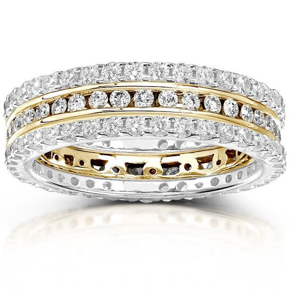 Image result for Round Diamond 1 1/2 Carat (ctw) Stackable Eternity Bands in 14k Gold (3 Piece Set)
