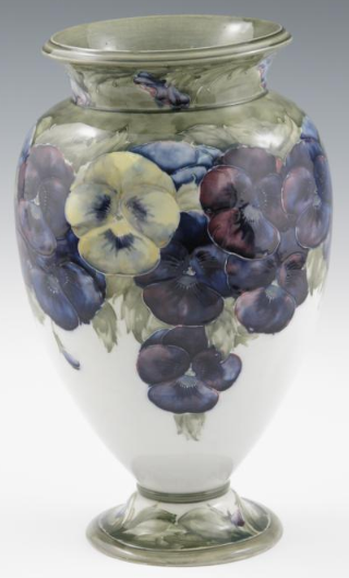 Moorcroft Pottery Early Pansy Design Footed Vase made by William Moorcroft. c1912 www.collectingmoorcroftpottery.com