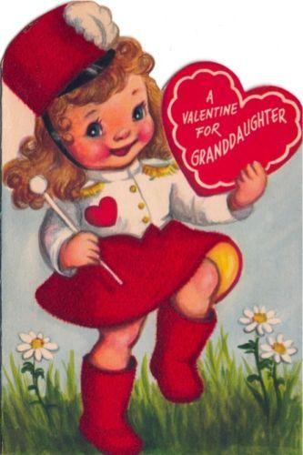 Vintage Greeting Card Valentine Girl Flocked Majorette Baton Marjorie Cooper 103