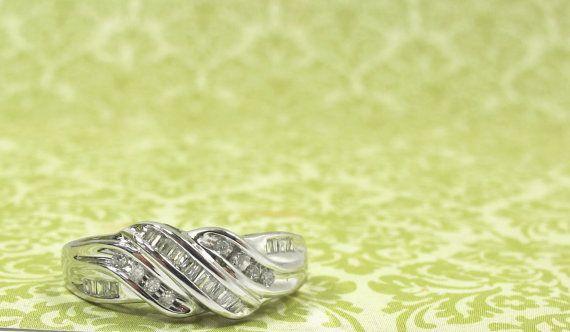 Twisting Channel Set Diamond 10K White Gold Ladies by 912Boutique