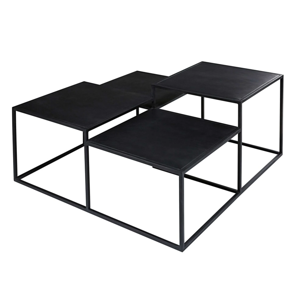 Couchtisch Mit 4 Platten Aus Schwarzem Metall Edison Maisons Du Monde Metal Coffee Table Coffee Table Low Tables