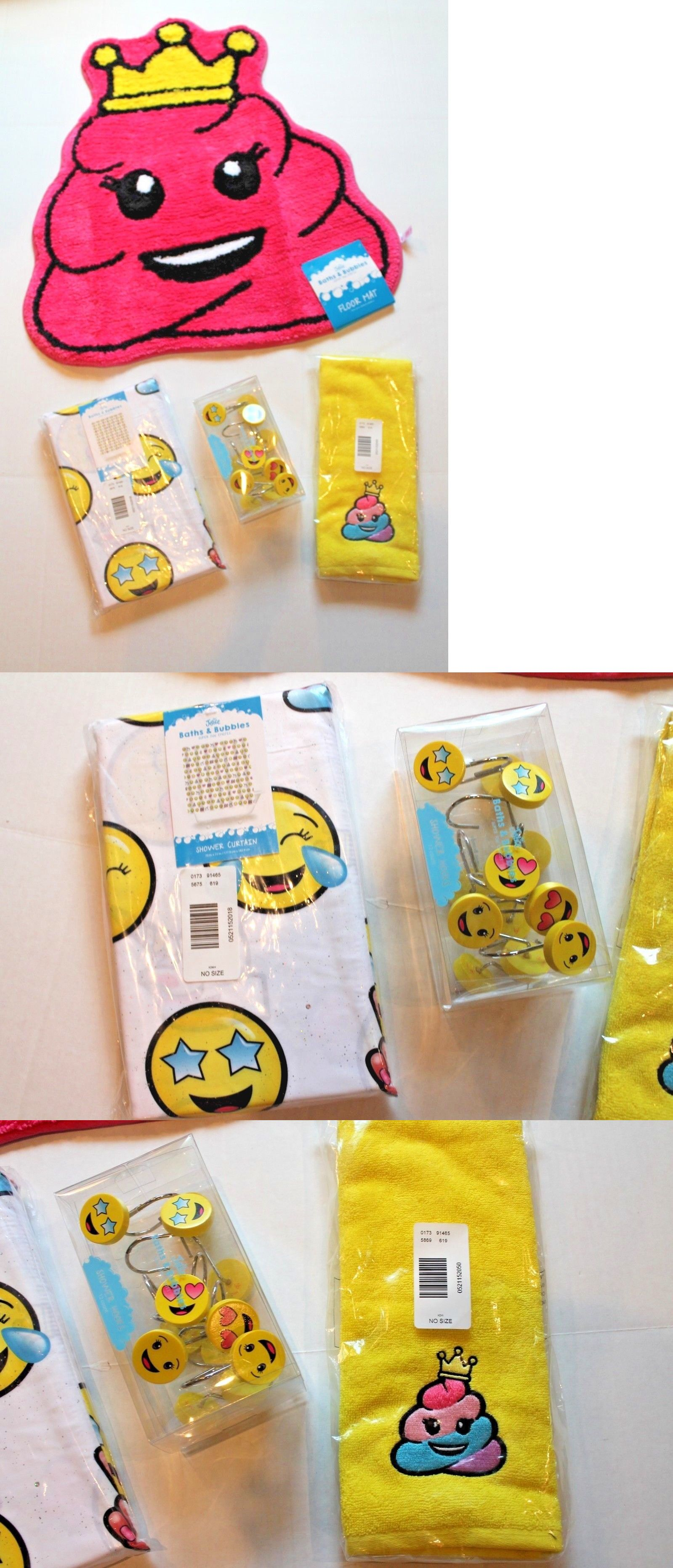 Bath 115624 Justice Emoji Faces Shower Curtain Rug Hand Towel And Emojis Hooks Set BUY IT NOW ONLY 5499 On EBay
