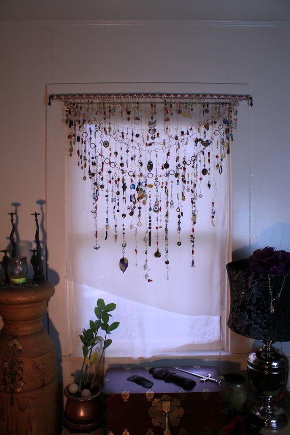 Gypsy Window Veil Diamond Eye Beaded Boho Curtain WEthnic India Glass Tribal Metal Beads Rare