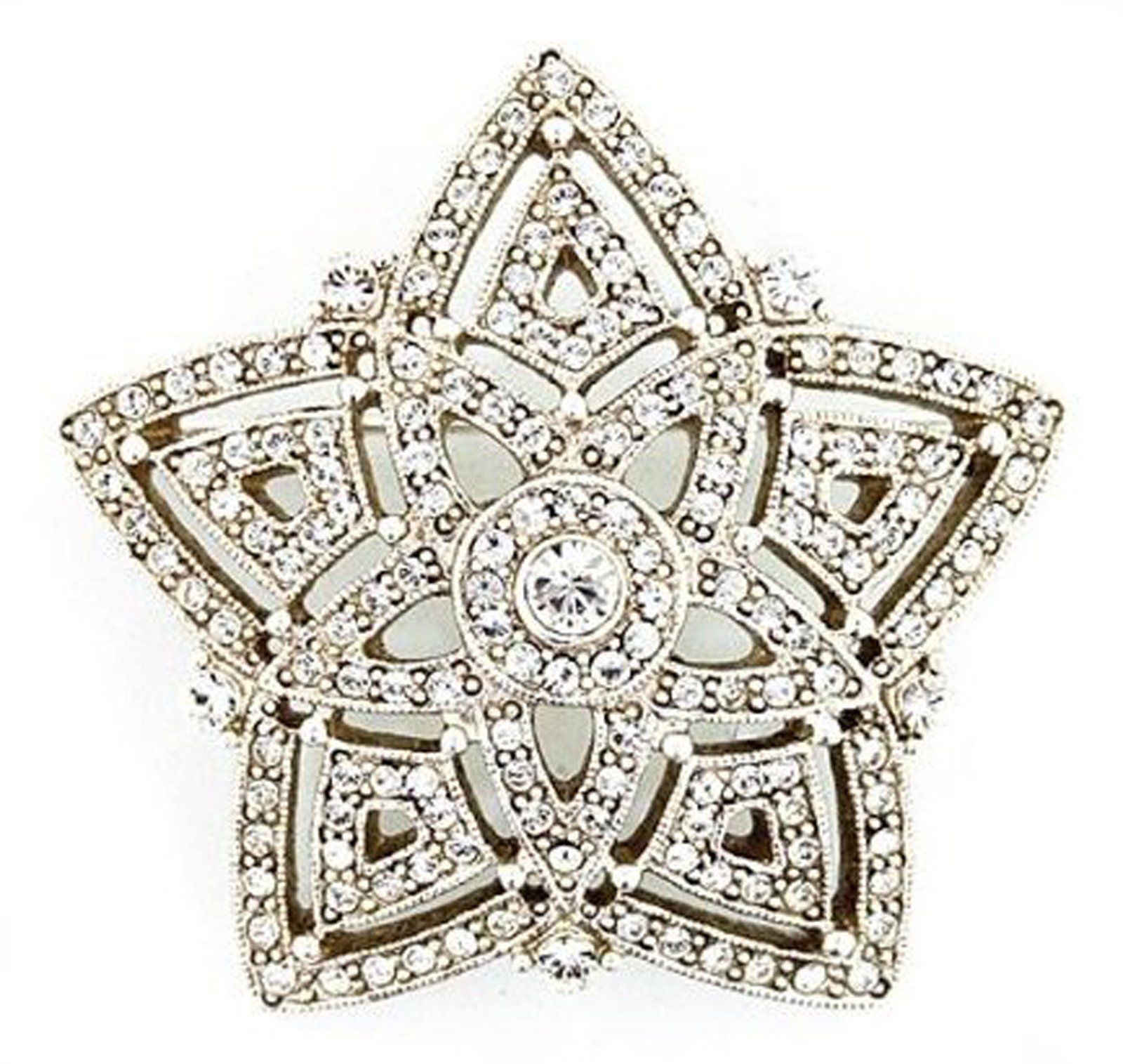 1928 Antiquities Silver Tone Crystal Evening Star Brooch