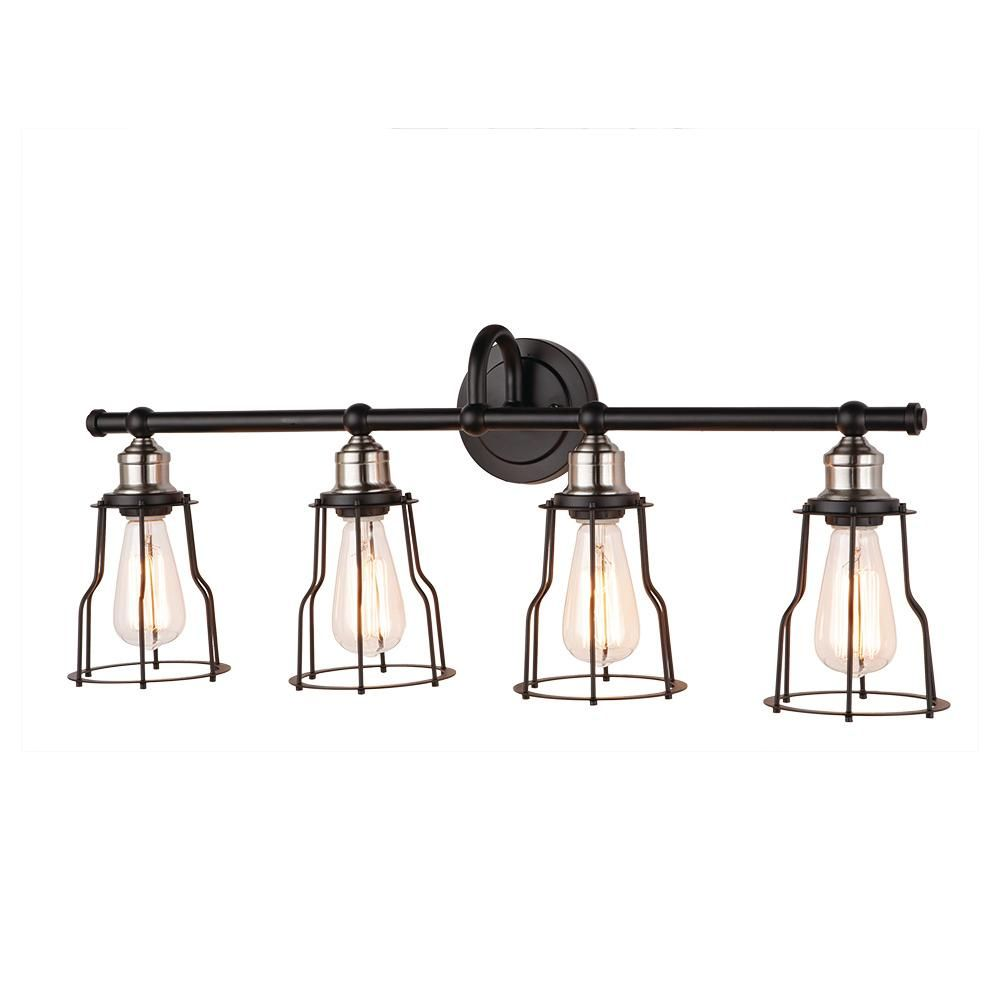 monteaux lighting 31 in. 4-light black with brushed nickel