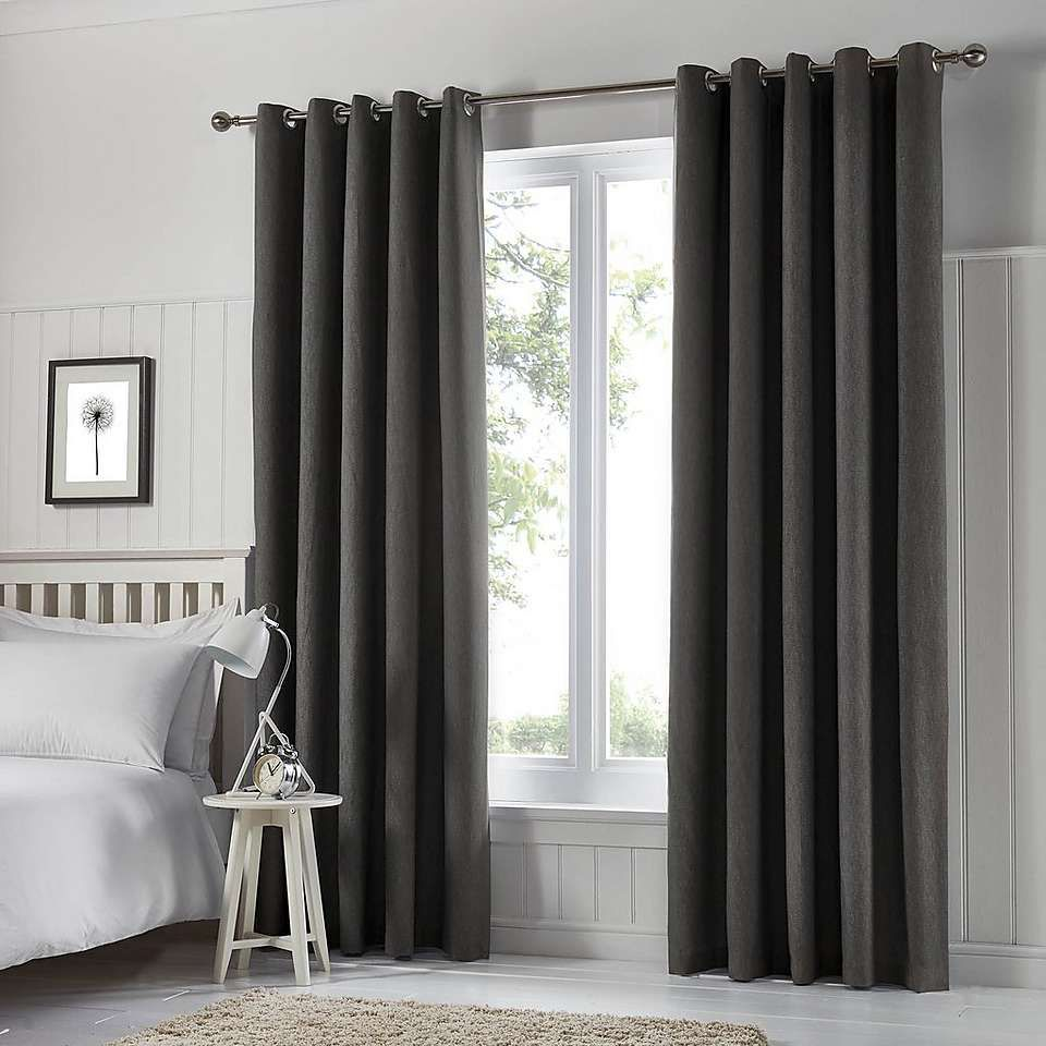 Tyla Graphite Blackout Eyelet Curtains