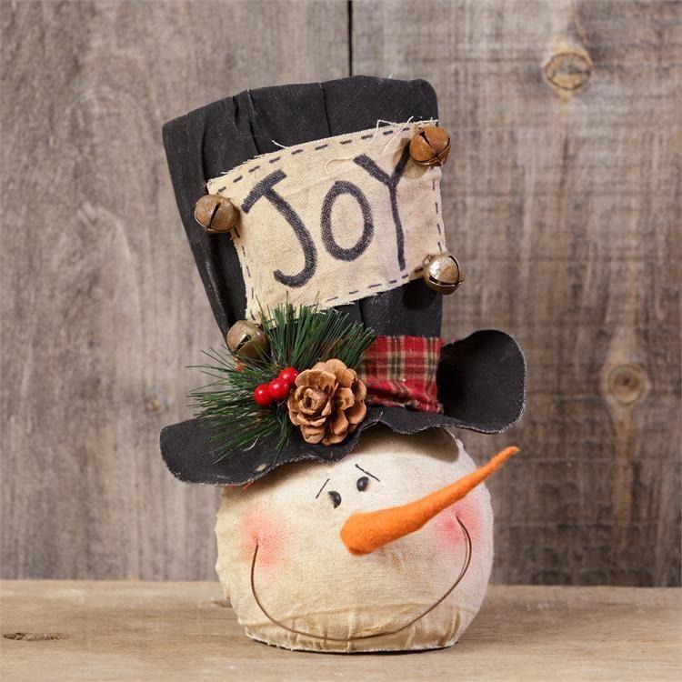 f8ef0277f06a4 New Country Primitive Rustic Christmas JOY SNOWMAN HEAD Top Hat Bells 10