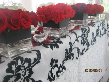 Main Table Square Vases With Red Roses Square Vases With Red