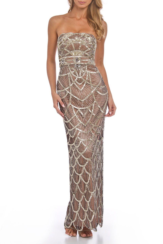 Sue wong art deco sequin strapless column dress in platinum u rose