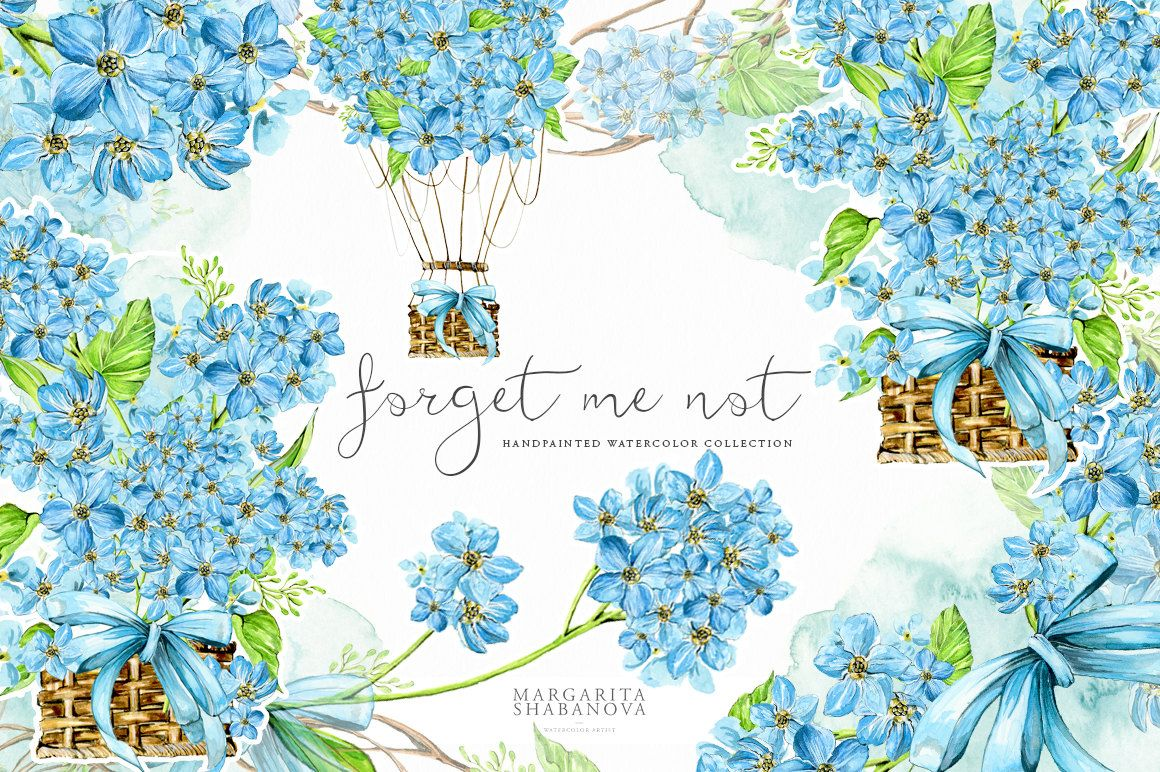 Forget Me Not Wedding Invitations: Forget Me Not ClipArt Watercolor Flowers Handpainted