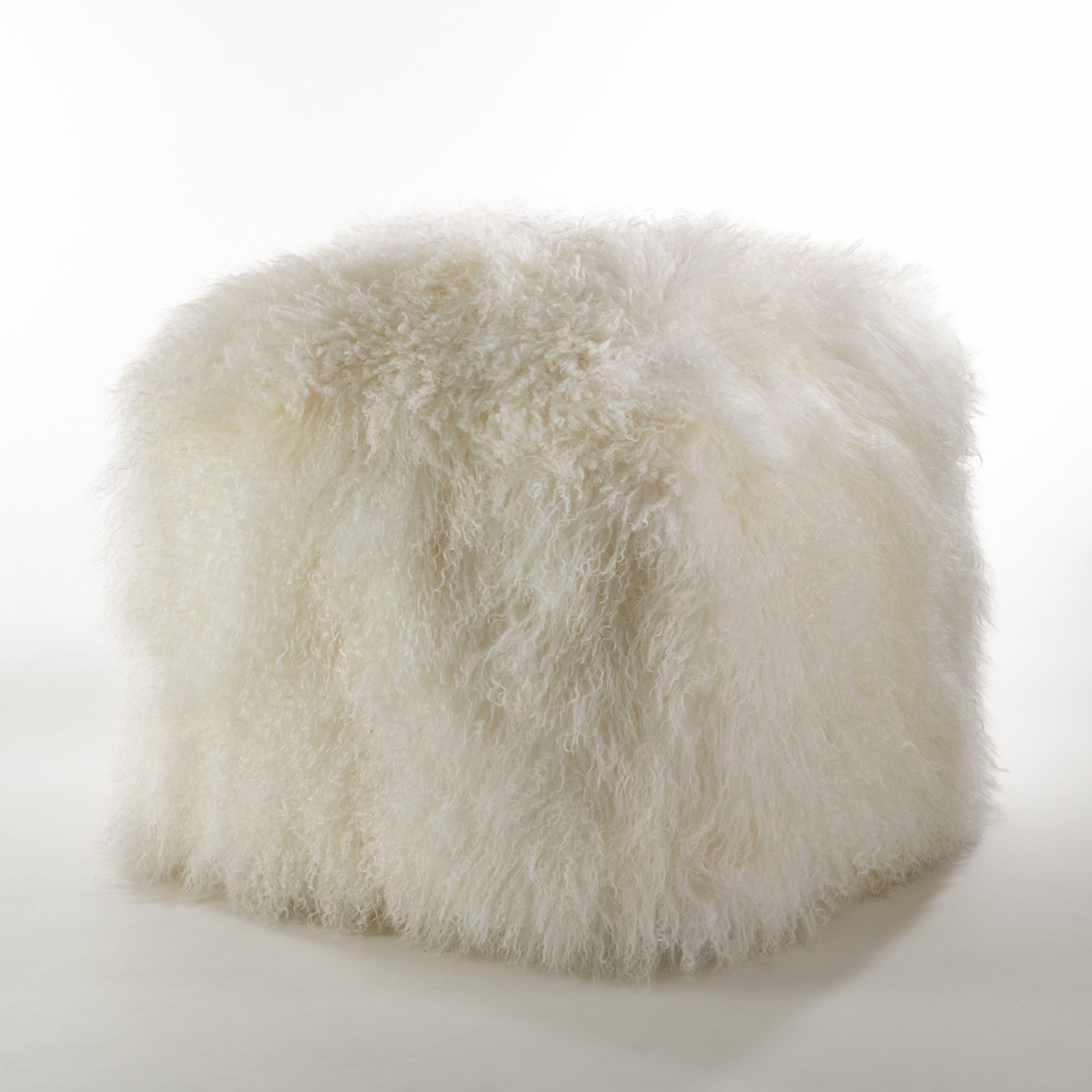 Saro Mongolian Lamb Fur Wool Pouf Ottoman Ivory 18 Inches In Diameter X High Size