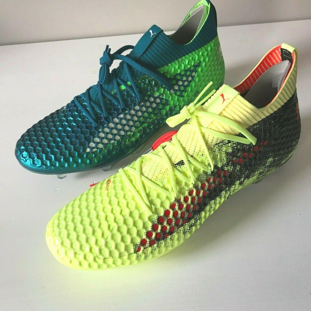 Puma Future 18.1 Netfit mens soccer cleats boots FG AG green yellow 12.5 13 14