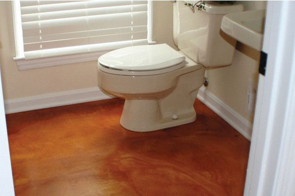 Stained Concrete Bathroom Floor