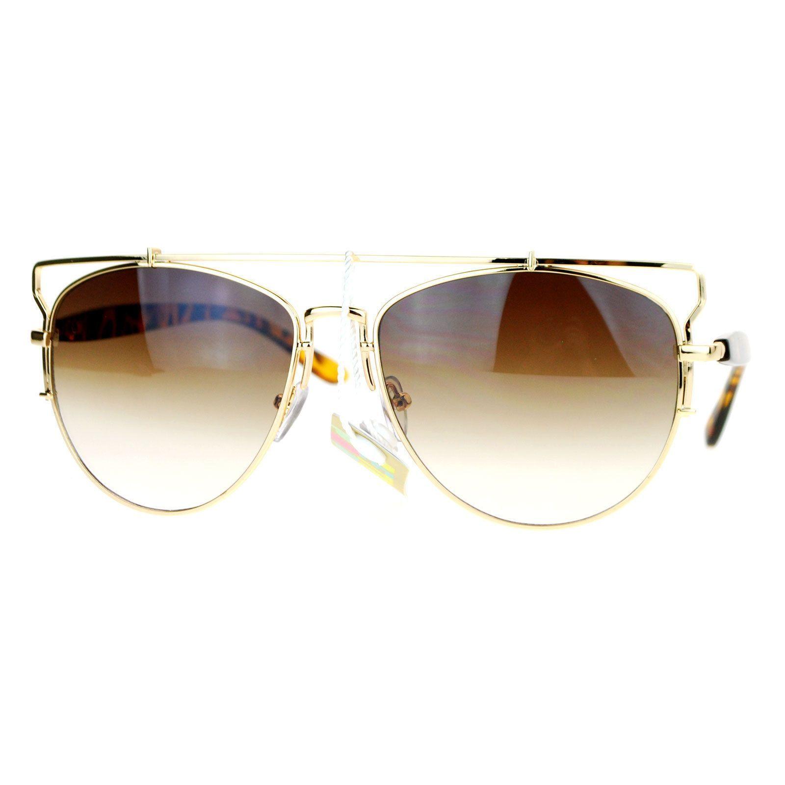 Womens Designer Aviator Sunglasses Flat Top Bar Metal Frame Aviators