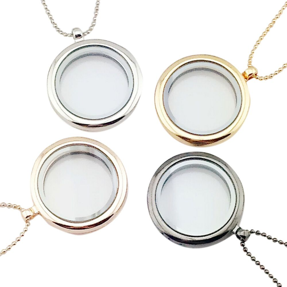 Silver Crystal Circle Living Memory Locket Bracelet For Floating Charms 30mm