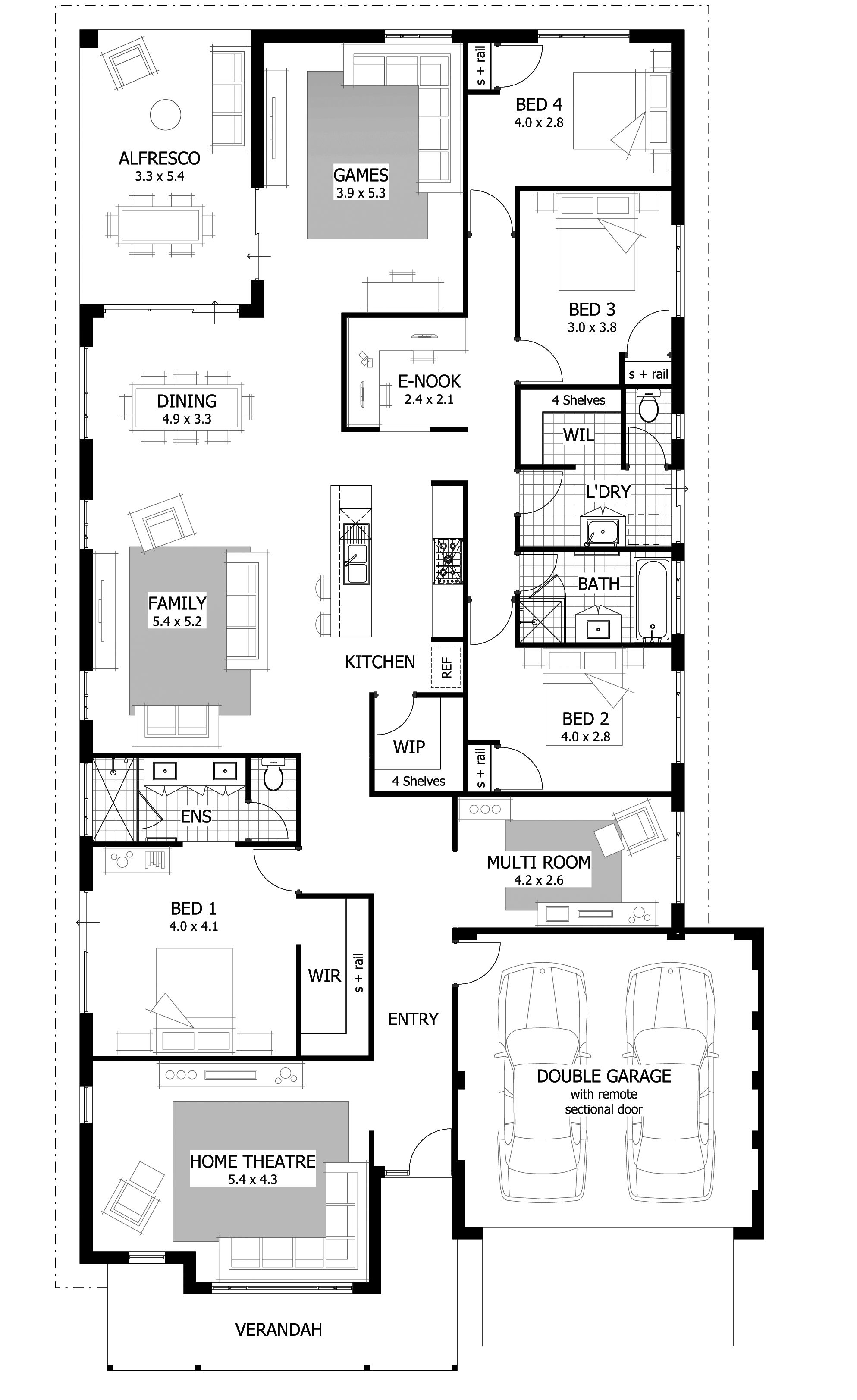 Find A 4 Bedroom Home That S Right For You From Our Current Range Of Home Designs And Plans The Narrow House Plans Rectangle House Plans House Plans One Story