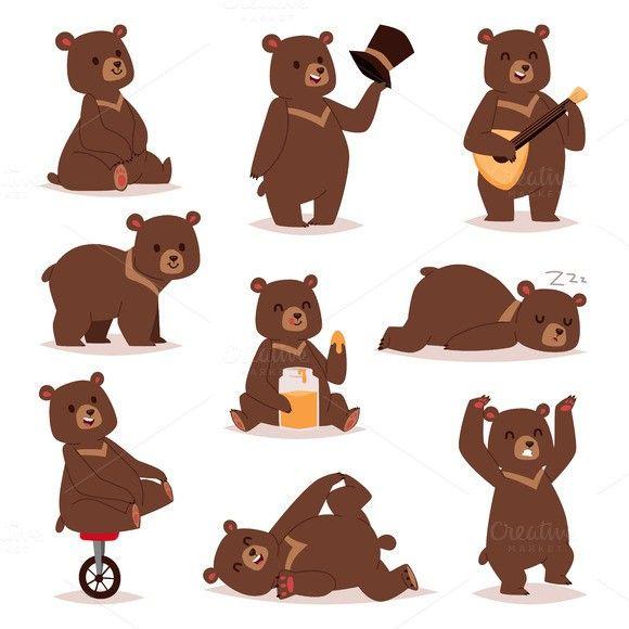 cartoon bear vector set illustrations in 2018 pinterest