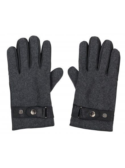 Twisted Soul Mens Black Woollen Leather Mix Gloves