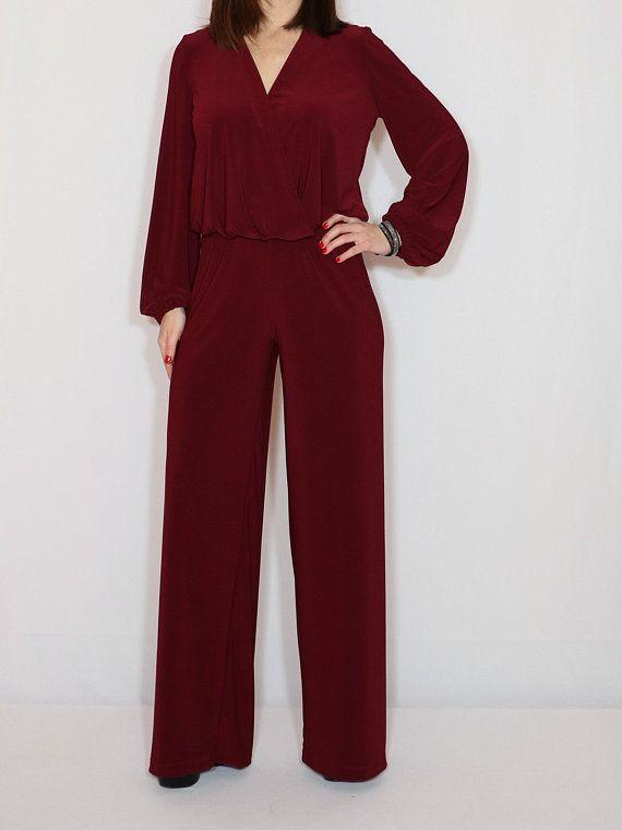 a162e1de46d Burgundy jumpsuit women Wine red long sleeve jumpsuit Wide leg jumpsuit
