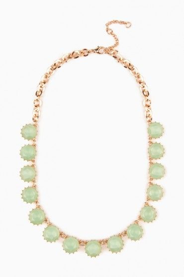 Crystal Row Necklace in Mint