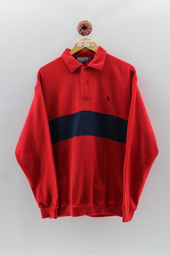 3913f68f5e5 Vintage 1990's POLO GROUND Polo Shirt Button Up Men Medium Polo Sport  Pullover Sweatshirt Polo Small