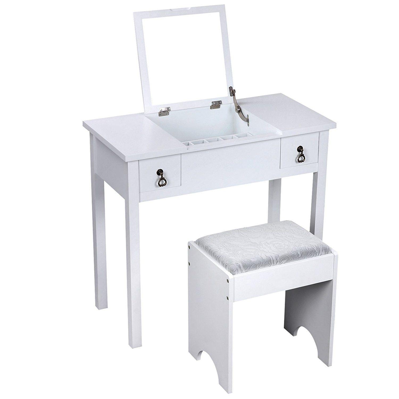Vanity set with stool and flip top mirror makeup storage organizer