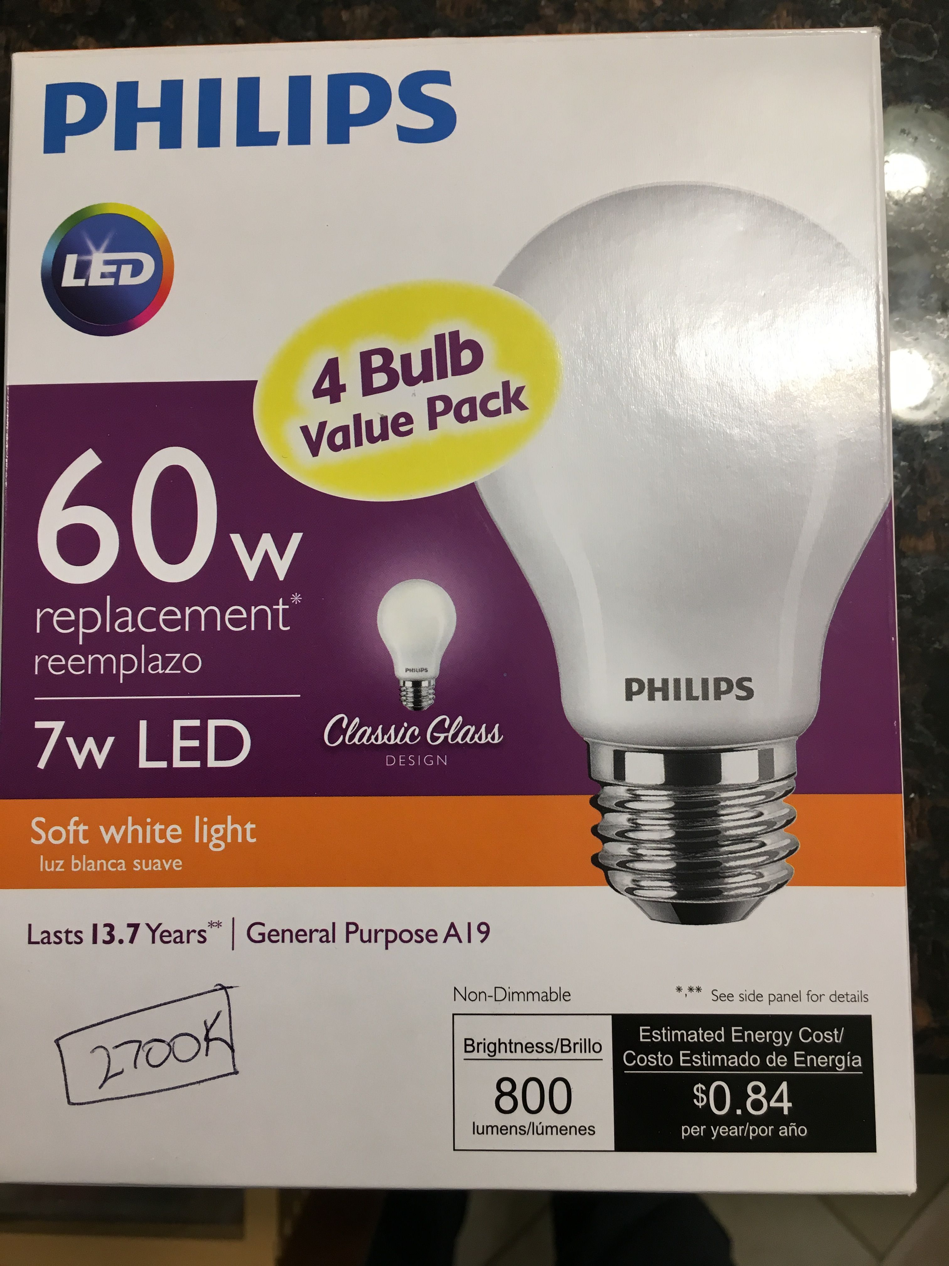 Standardized Bulb For House Philips Classic Glass 800 Lm 2700 K 7 Watts Bulb Glass Light Bulb