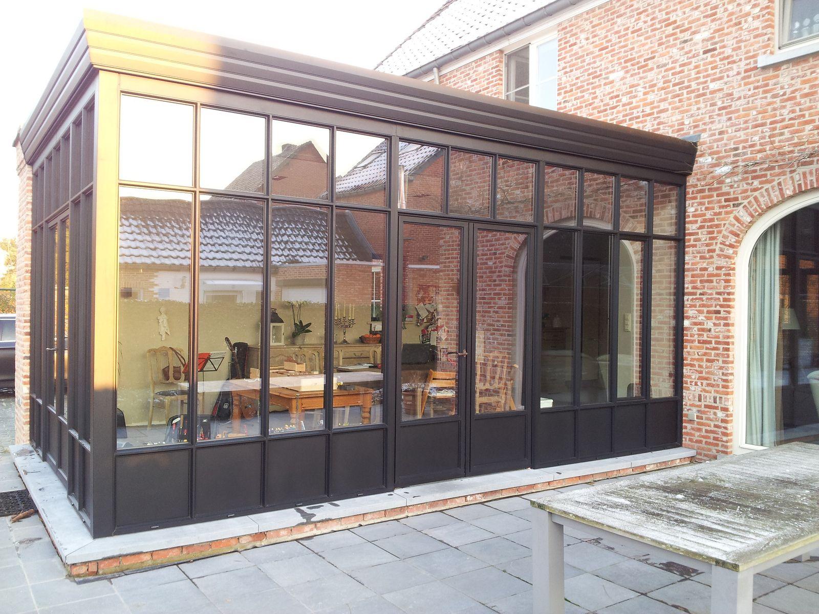 Veranda Steellook Zwarte Structuurlak Adr Construct 2 Glass House New Homes House Extensions