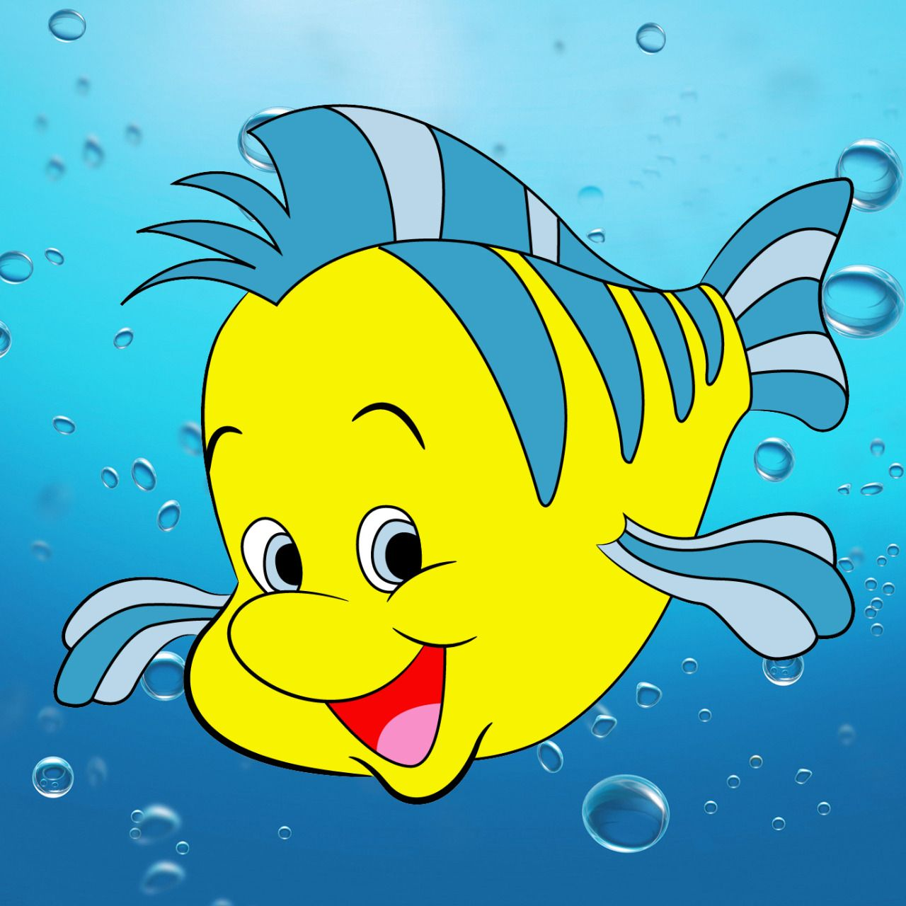 via how to draw flounder from the little mermaid draw