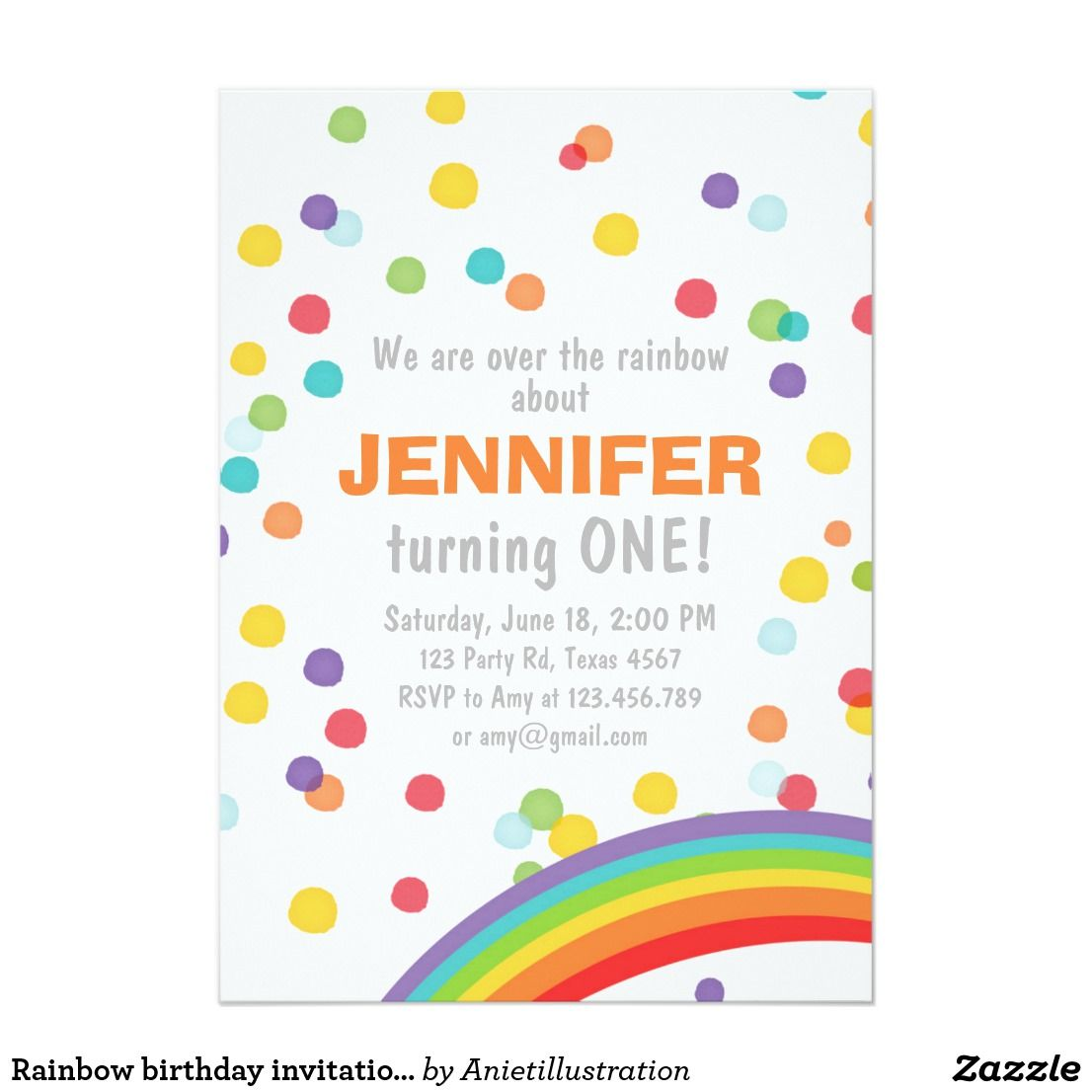 Rainbow birthday invitation Girl confetti Colorful   Rainbow ...