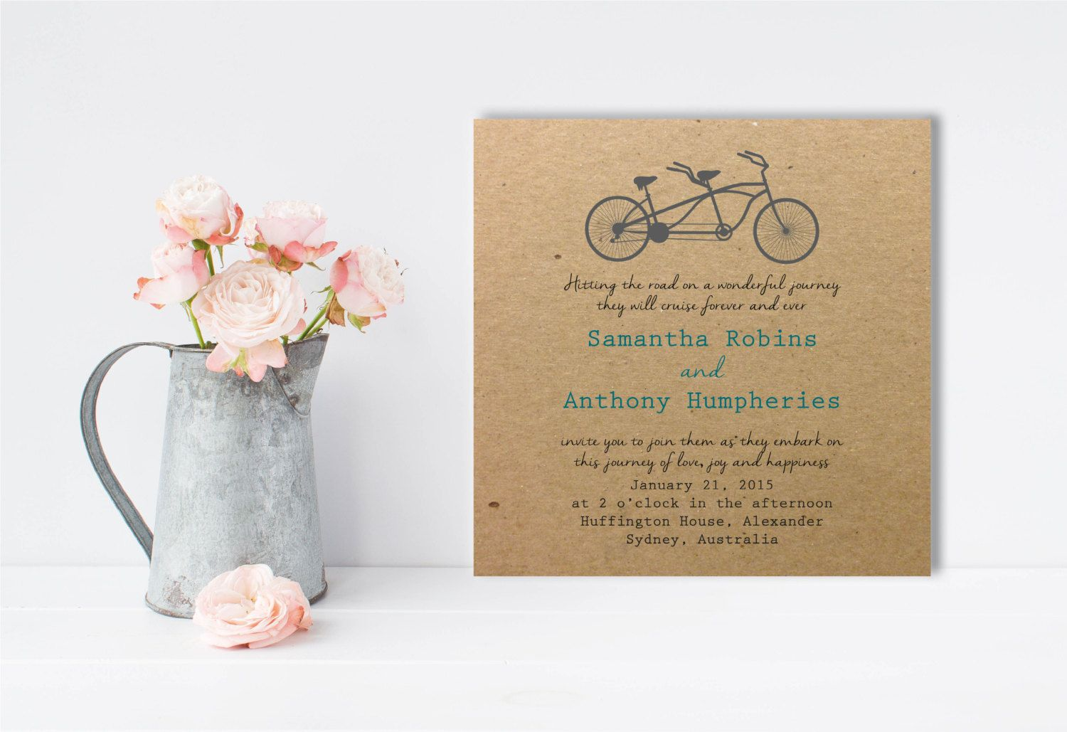 Vintage Bicycle, Wedding Invitation, Scripted Font, Outdoor Wedding ...