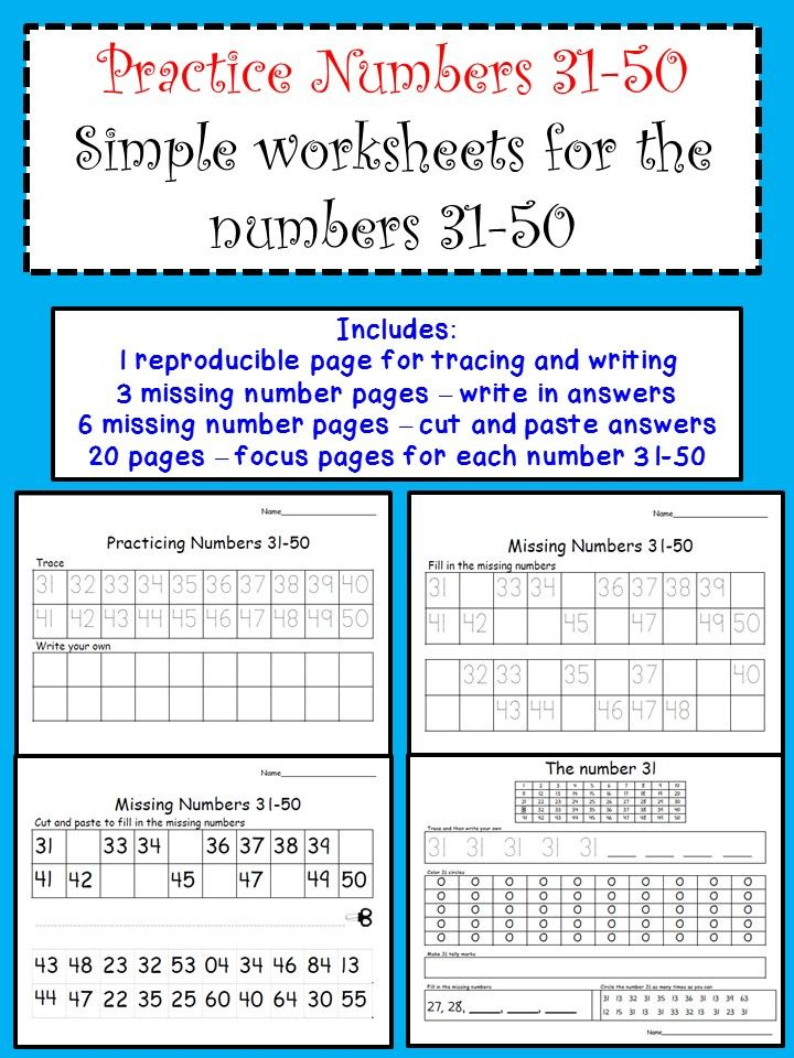 Number Sense Activity - Worksheets 31-50 | Elementary math ...