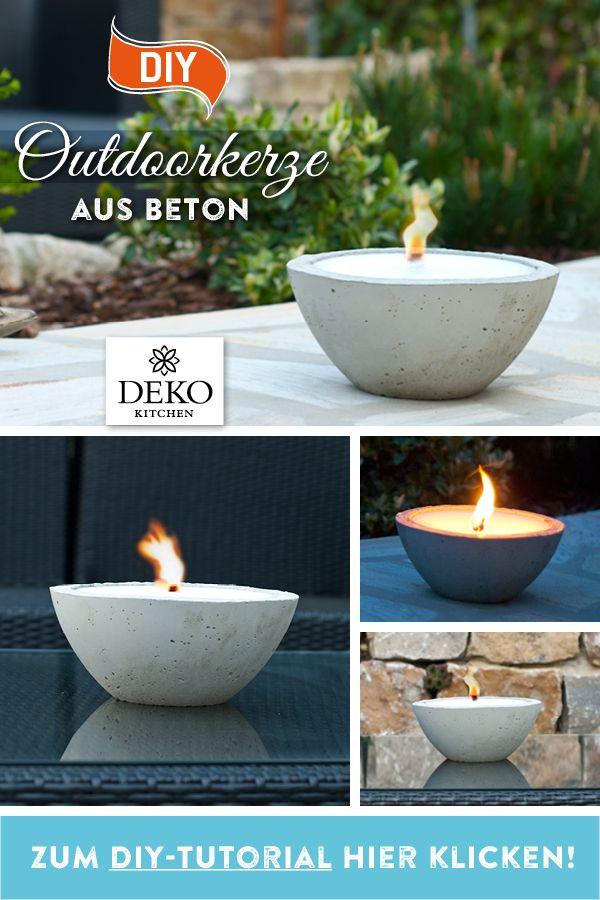 DIY: Sommerdeko mit großer Outdoorkerze aus Beton! In diesem Tutorial zeige ich wie Du ganz einfach eine Outdoor-Kerze aus Beton gießen kannst! #gartendekoselbermachen