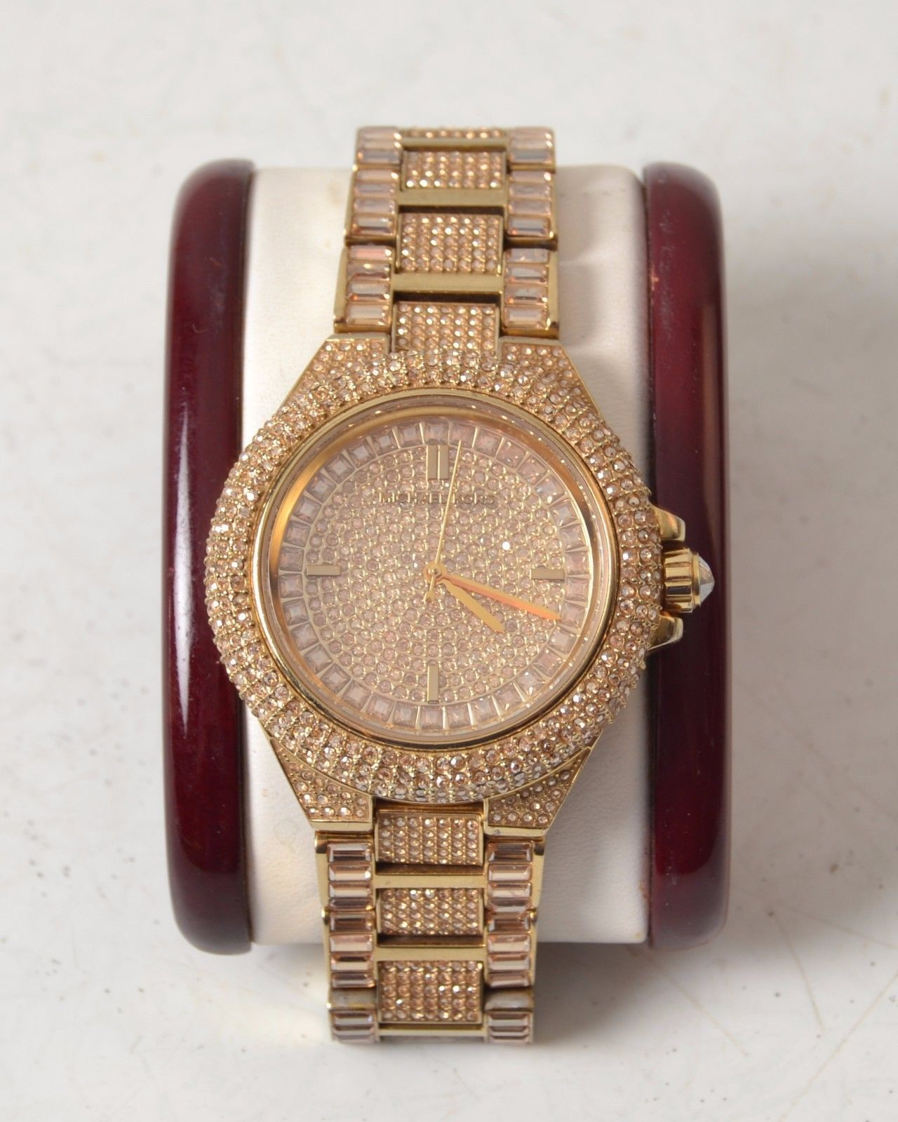 0344da9caef1 Michael Kors Watch MK5720 Gold Tone Crystal Covered Pave Glitz Bling  https   t