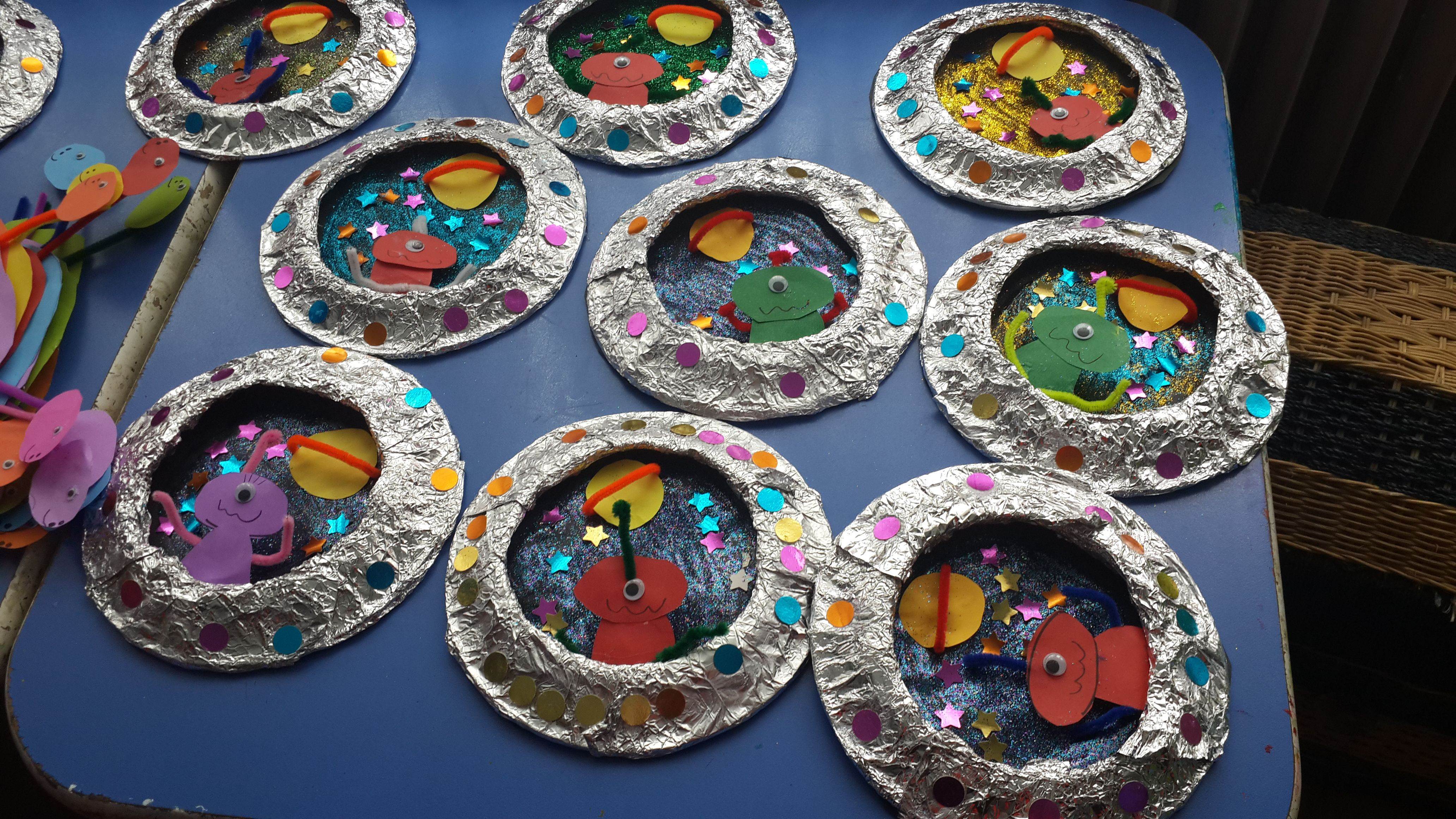 Two paper plates covered in foil. Center cut out & Aliens in outer space idea. Two paper plates covered in foil. Center ...