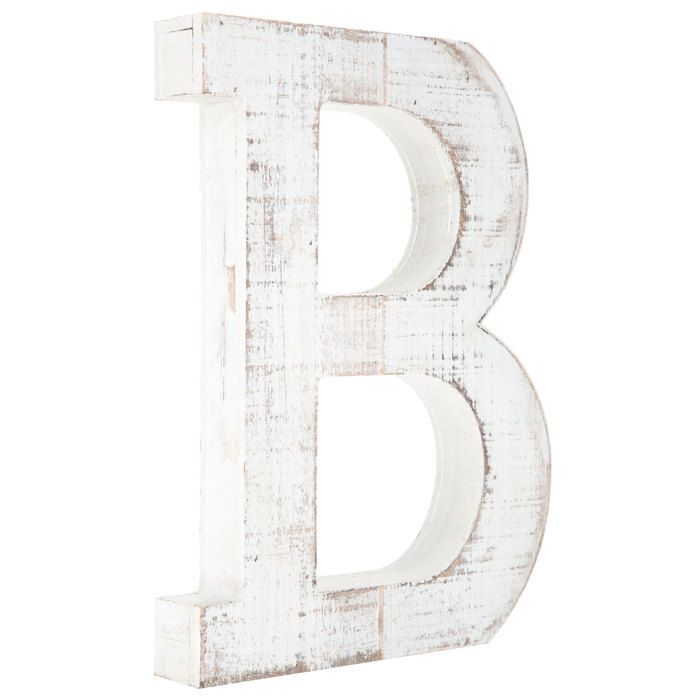 Whitewash Wood Letter Wall Decor B Letter Wall Decor Wood Letters Letter Wall