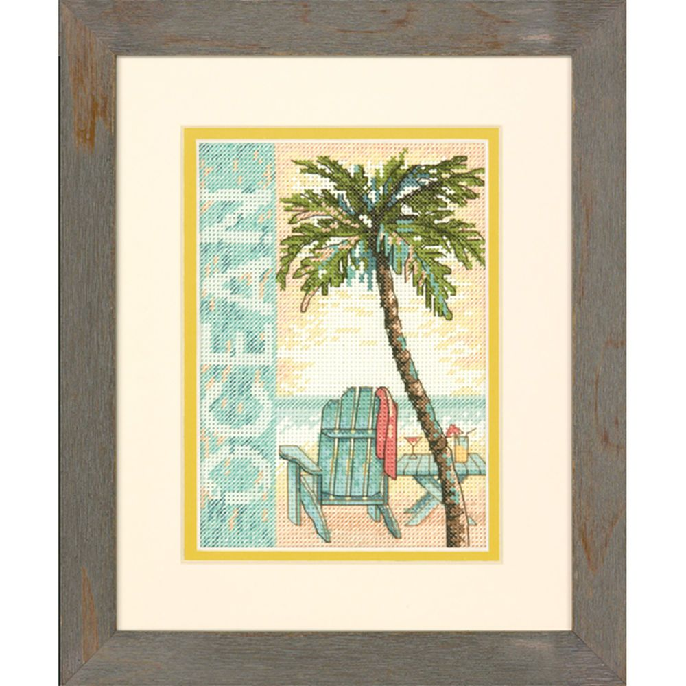 "Imagine yourself in this warm, relaxing scene as you stitch this counted cross stitch Ocean design by Dimensions. A swaying palm tree, a comfy chair, a refreshing drink, and the sea—what could be more perfect? Part of the Gold Collection. Finished size: 5"" x 7"" (12 x 17 cm). Designed by Daphne Brissonet. Original artwork by Daphne Brissonet © Wild Apple Licensing. This counted cross stitch kit contains:• Presorted cotton thread• 14 count ivory Aida• Needle• Easy instructions"