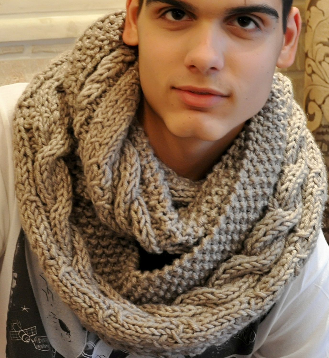 Beige Infinity Scarf for Men, Knit Cowl | Men's Fashion ...