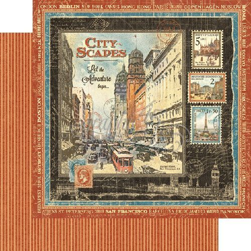 "Graphic 45 Cityscapes Collection Double Sided 12""X12"", Cityscapes..783"