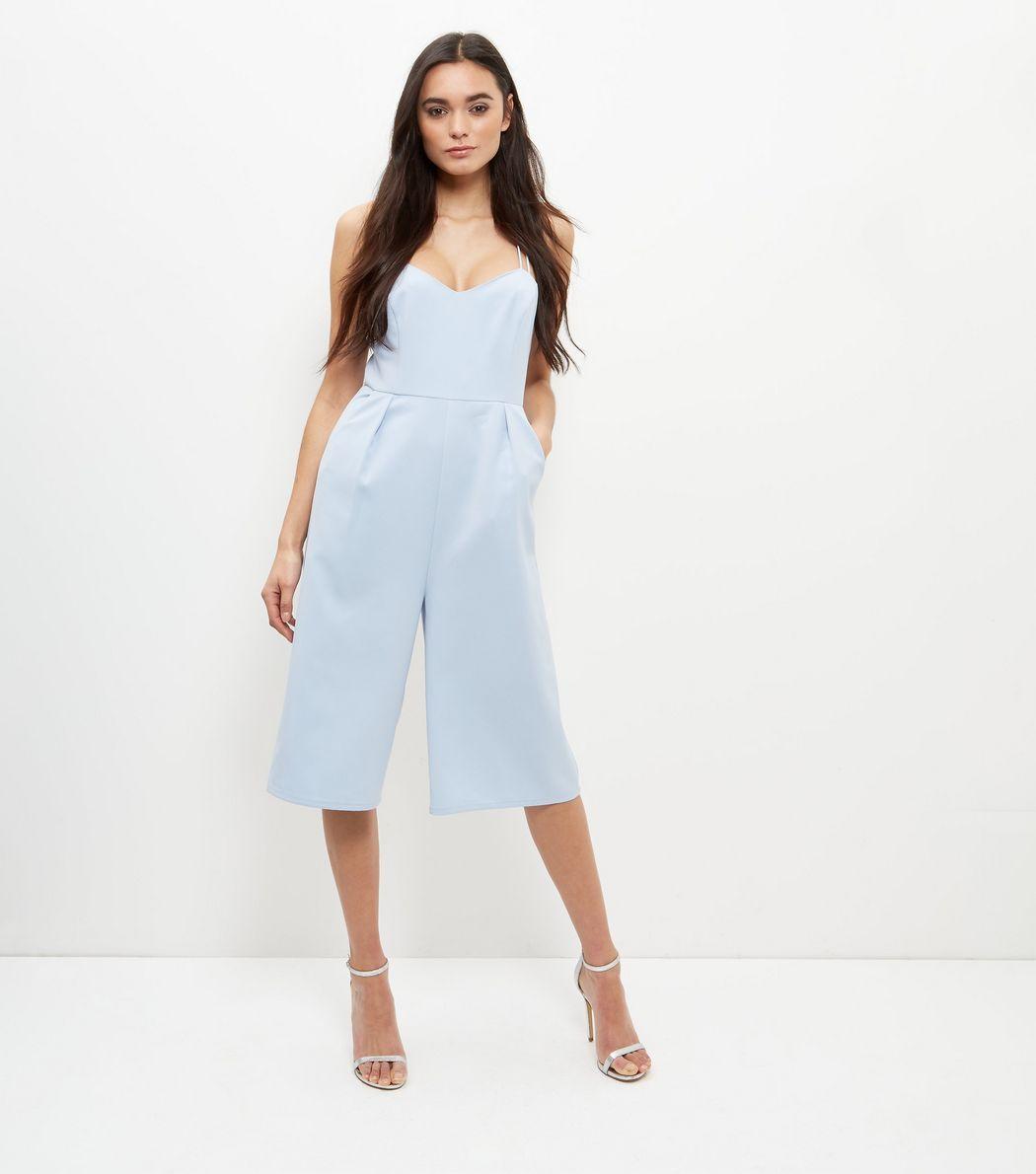 064ba7f6b55 Light Blue Strappy Culotte Jumpsuit