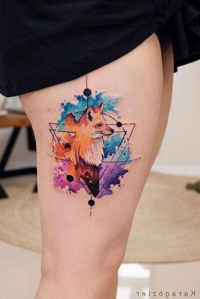 Black Dress Watercolor Tree Tattoo Geometrical Fox Thigh Tattoo In 2020 Geometric Watercolor Tattoo Watercolor Fox Tattoos Shape Tattoo
