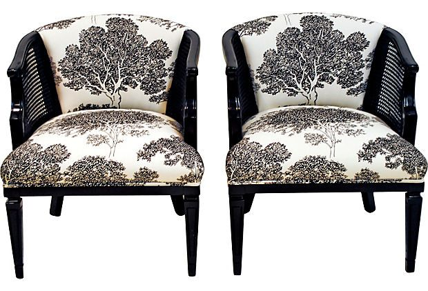 Black Barrel Chairs W/ Caning, Pair